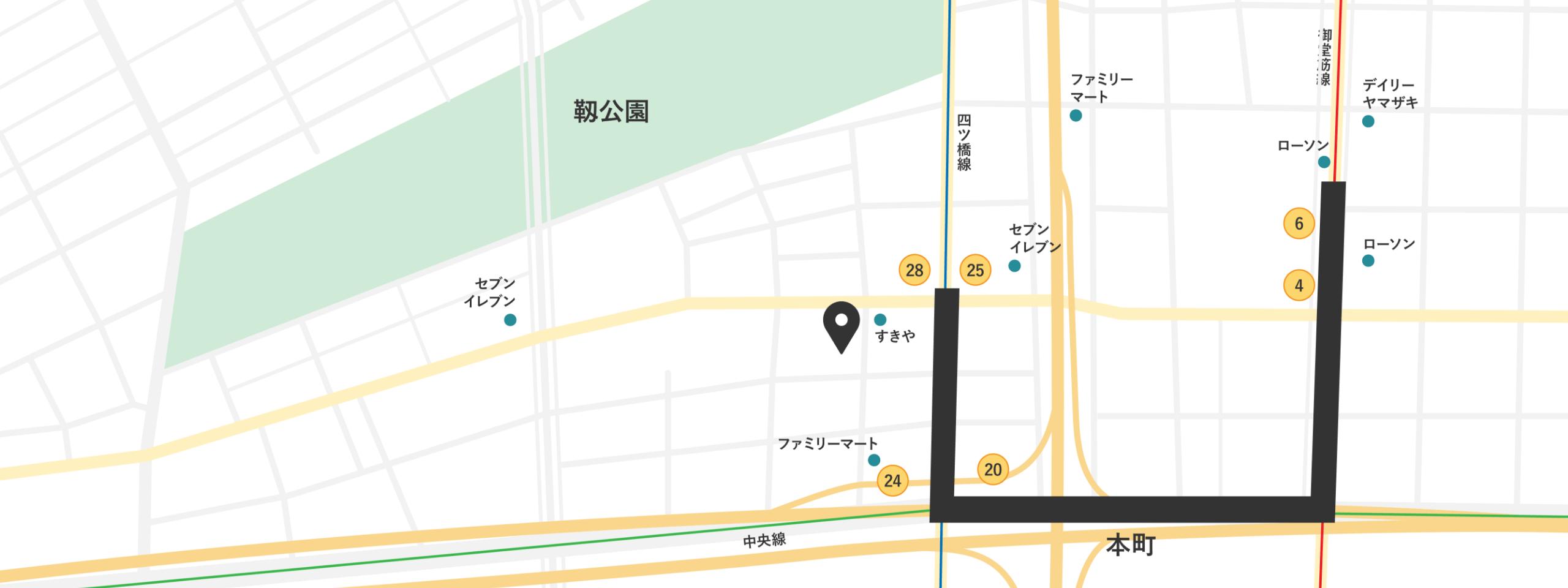 大阪府大阪市西区西本町1-8-2 三晃ビル旧館305号の地図