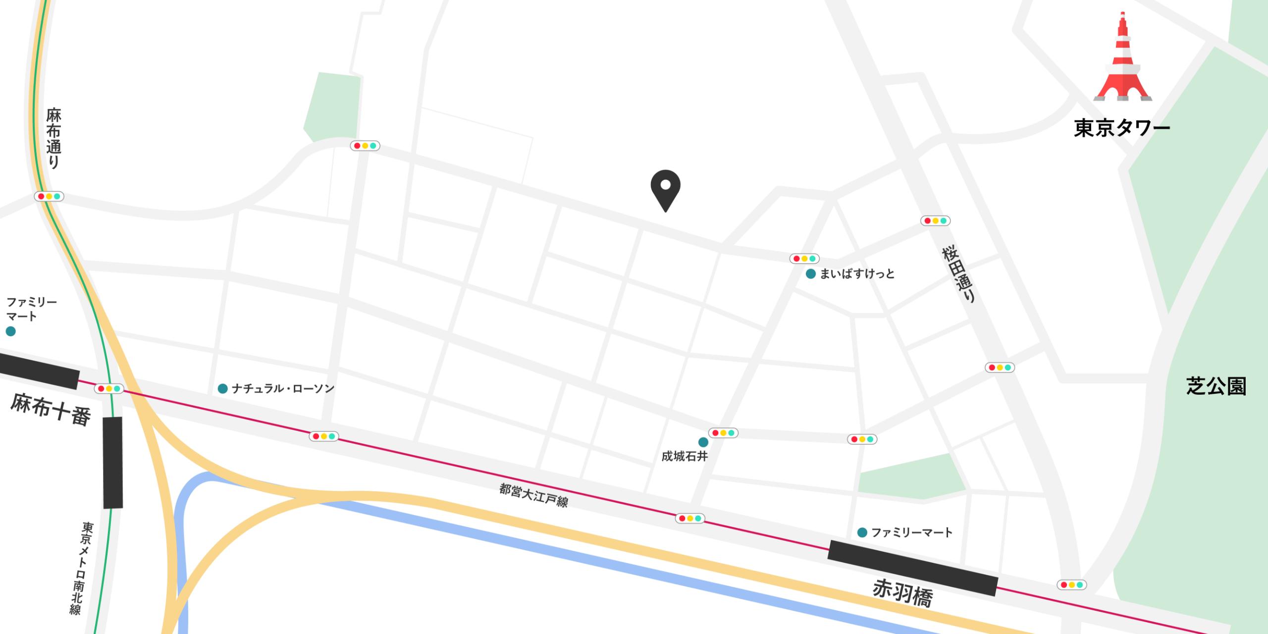 東京都港区東麻布2-6-5 Tuttle Bldg 4F-WESTの地図